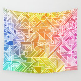 Bright Gradient (Hot Pink Orange Green Yellow Blue) Geometric Pattern Print Wall Tapestry