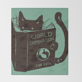 World Domination for Cats (Green) Throw Blanket