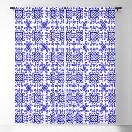 Classic European Blue Tiles Blackout Curtain