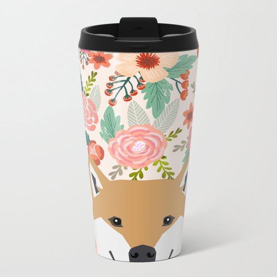Shiba Inu florals spring summer bright girly hipster dog meme shiba ink puppy pet portraits Metal Travel Mug