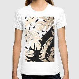 Simply Tropical Midnight Black Memphis Palm Leaves T-shirt