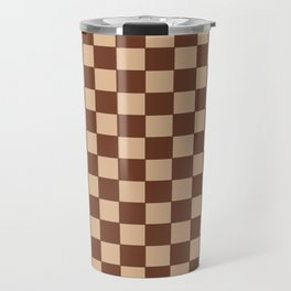 Checkers - Brown and Beige Travel Mug