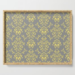 Damask Pattern in Grey and Yellow Serving Tray