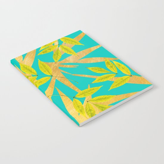 Gold & Teal Florals #society6 #decor #buyart Notebook