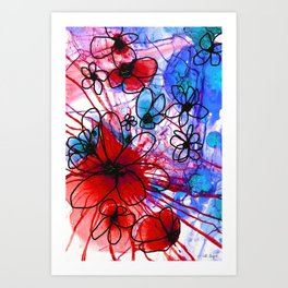 Bold Modern Flower Art - Wild Flowers 3 - Sharon Cummings Art Print