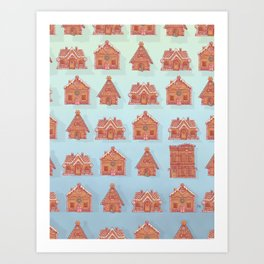 Gingerbread house pattern (V2) Art Print