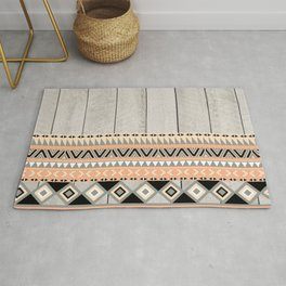 Peach Coral Andes Abstract Aztec Tribal Gray Wood Rug