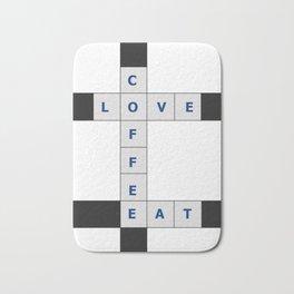 Love, Coffee, Eat crosswords Bath Mat