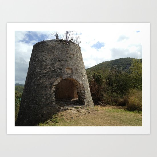 Peace Hill, St. John,Virgin Islands, Sugar Mill Stone Ruins Art Print