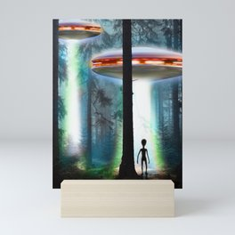 UFO Alien Forest / Flying Saucers Mini Art Print