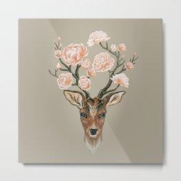 Deer and Peonies Metal Print