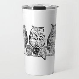 Owls - Ink Drawng Travel Mug