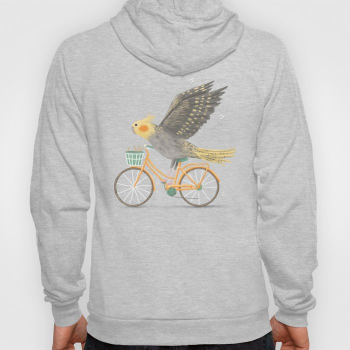 Cockatiel on a Bicycle Hoody