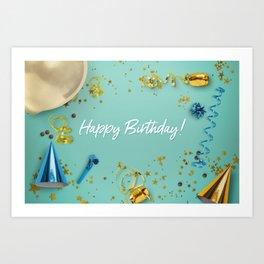 Happy Birthday Party Scene Layflat Art Print