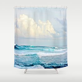 Blue Water Fluffy Clouds Shower Curtain