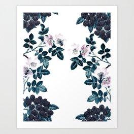 Blackberry Spring Garden - Birds and Bees Floral III Art Print