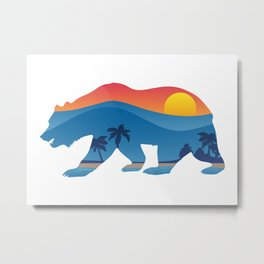 California bear with superimposed mountains and beach shoreline Metal Print