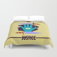 justice league Duvet Covers featuring JUSTICE by badOdds