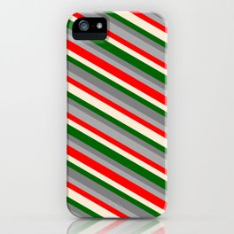 Vibrant Gray, Dark Grey, Red, Beige & Dark Green Colored Lined Pattern iPhone Case
