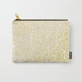 Hand painted modern faux gold white floral pattern Carry-All Pouch