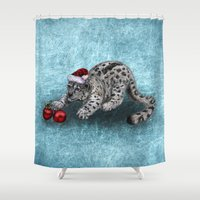 snow leopard Shower Curtains featuring Snow Leopard by Anna Shell