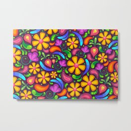 Colorful floral and paisley pattern Metal Print