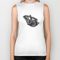 newspaper Biker Tanks featuring Newspaper Sloths by Doolin