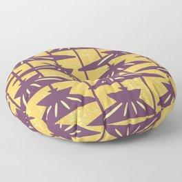 Mid Century Modern Pendant Lamp Composition Yellow and Plum Floor Pillow