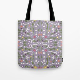 Light Purple Hand Painted Bohemian Flower Design Tote Bag