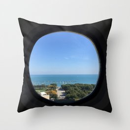 Lake Michigan View from Railway Exchange Building Original Color Photograph Home Decor Gift Icon Throw Pillow