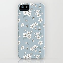 White flowers and bees pattern iPhone Case