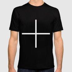 white cross Black MEDIUM Mens Fitted Tee