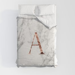 Monogram rose gold marble A Comforters