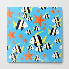 Summer Fun Pattern: Striped Fish and Starfish Pattern Metal Print
