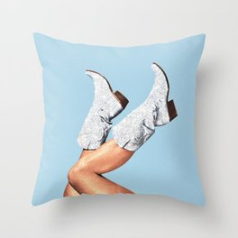 These Boots - Glitter Blue Throw Pillow