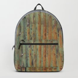 corrugated rusty metal fence paint texture Backpack