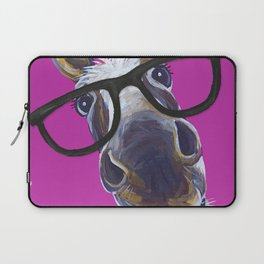 Up Close Donkey Art, Donkey with Glasses Art Laptop Sleeve