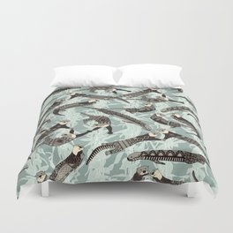 sea otters silver Duvet Cover
