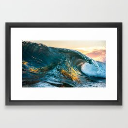 Wave sunset and reflexion Framed Art Print