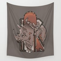 rhino Wall Tapestries featuring Rhino by B. McGee
