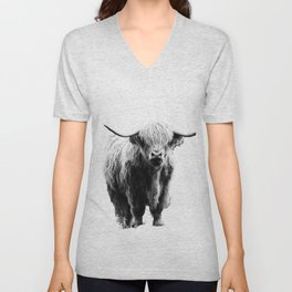 Newspaper Print Style Highland Cow. Scotland, Bull, Horns. Unisex V-Neck