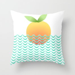 orange ocean  Throw Pillow
