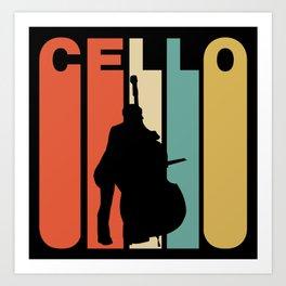 Retro Style Cello Player Cellist Musician Art Print