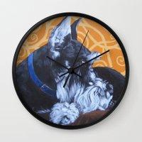 schnauzer Wall Clocks featuring Remmington Schnauzer by Ashley Corbello