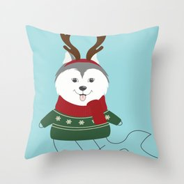 Happy Pet in Ugly Christmas Sweaters Throw Pillow