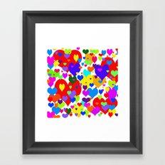 Beaucoup de coeurs de couleur Framed Art Print