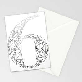 ''Geometry Collection'' - Minimal Number Six Print Stationery Cards