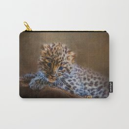 Cute painting amur leopard cub Carry-All Pouch