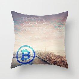 bitcoin icon hologram Throw Pillow