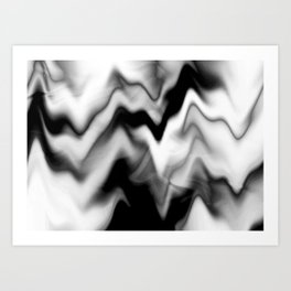 Black and White Gradient Abstract Wavy Chevron Gray Mountain Scenic Pattern Design Minimalistic Art Print